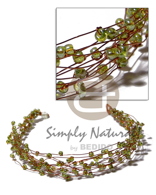 Cebu 13 rows copper wire choker glass beads necklace