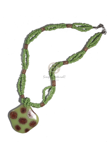 Native 3 layers intertwined lime green glass beads necklace