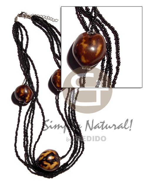 Fashion brown tiger kukui nuts in graduated necklace