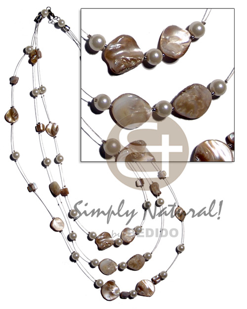 Wholesale floating natural kabibe shell nuggets graduated necklace