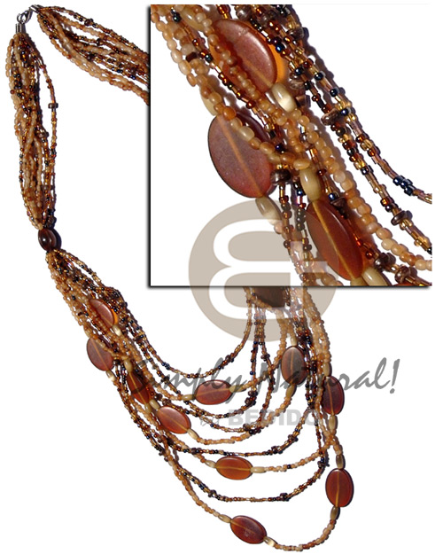Philippine 9 graduated layers of cut graduated necklace