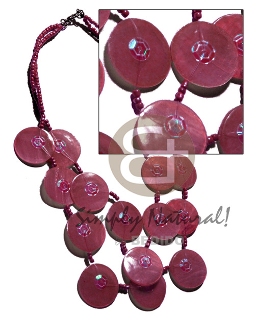 Cebu 25mm old rose capiz shells graduated necklace