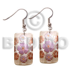 Natural 35mm x 25mm rectangular hammershell hand painted earrings