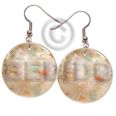 Natural 35mm round hammershell hand painted earrings