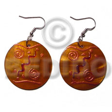Philippine dangling round 35mm kabibe shell hand painted earrings