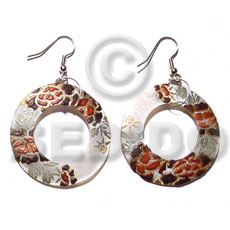 Wholesale dangling round 40mm hammershell hand painted earrings