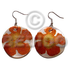 Philippines dangling 35mm round handpainted embossed hammershell hand painted earrings