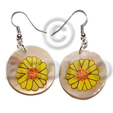 Ethnic dangling 30mm round handpainted hammershell hand painted earrings