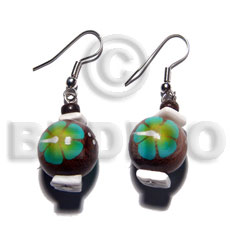 Ladies dangling 15mm robles round wood hand painted earrings