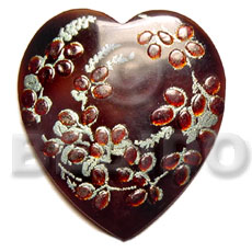 Cebu heart 50mm black tab hand painted pendants