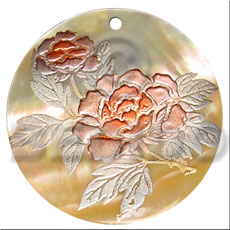 Wholesale round 40mm mop handpainted hand painted pendants