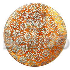 Fashion round 40mm orange hammershell hand painted pendants