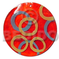 Teens round red 50mm capiz shell hand painted pendants