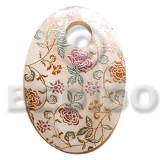 Handmade oval 45mm hammershell hand painted pendants