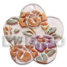 Ladies scallop 40mm clear white resin hand painted pendants