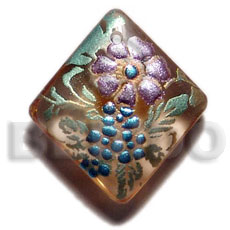 Ethnic diamond 40mm transparent brown hand painted pendants