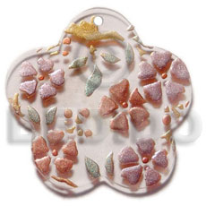 Philippines scallop 35mm clear white resin hand painted pendants