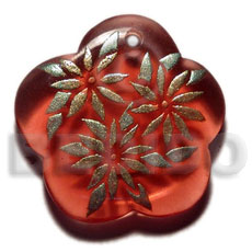 Cebu scallop 35mm transparent red resin hand painted pendants