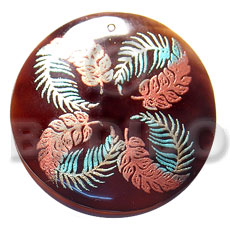 Teens round 50mm blacktab shell hand painted pendants