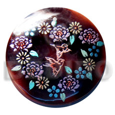 Unisex round 50mm blacktab shell hand painted pendants