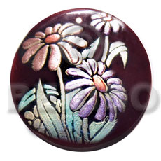 Philippines round 50mm blacktab shell hand painted pendants