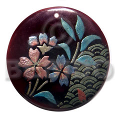 Ethnic round 50mm blacktab shell hand painted pendants