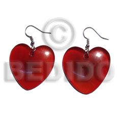 Unisex dangling 35mmx35mm carabao horn heart horn earrings
