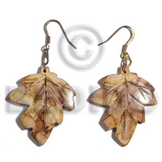 Natural dangling 35mm antique horn leaves horn earrings