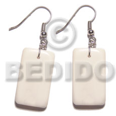 Philippine dangling 40mmx20mm rectangular carabao bone horn earrings