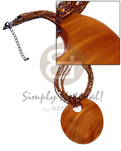 Handmade 60mm round amber horn horn necklace