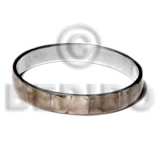 Cebu laminated shell in 1 2 inlaid metal bangles