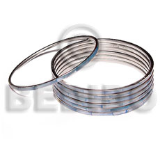 Wholesale laminated hammershell blue in 3mm inlaid metal bangles