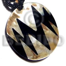 Natural 55mm round mop skin inlaid pendants