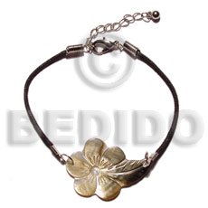 Philippines blacklip flower in wax cord leather bracelets