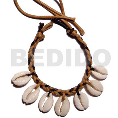Handmade sigay shells in braided wax leather bracelets
