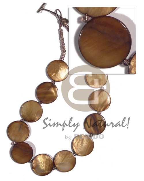 Philippine 28mm round laminated golden amber leather thong necklace