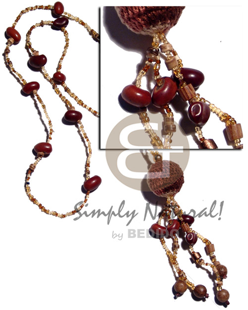 Fashion glass beads bayong wood long endless necklace
