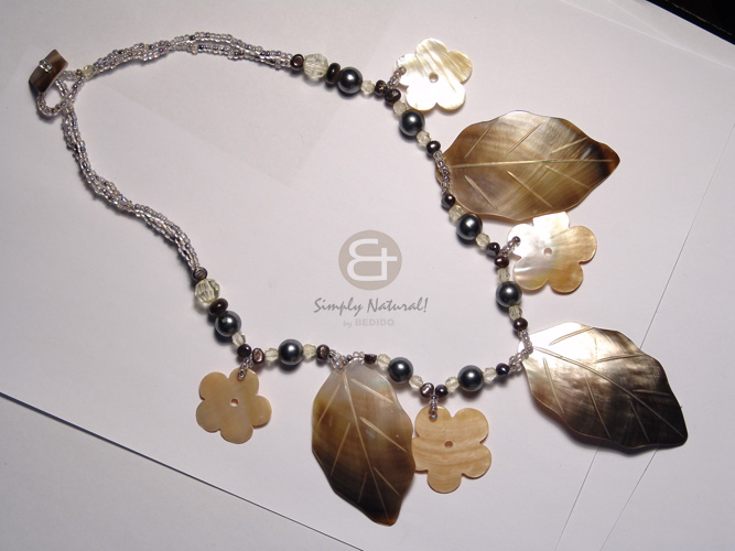 Native 2 layers glass beads long endless necklace