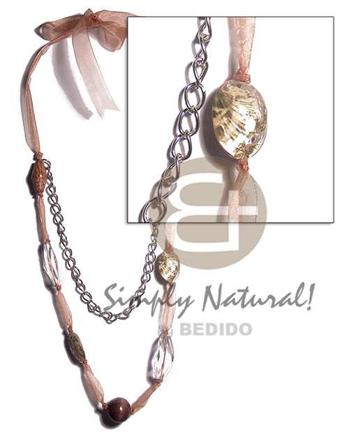Fashion 2 pcs. philippine abalone 2pcs long endless necklace