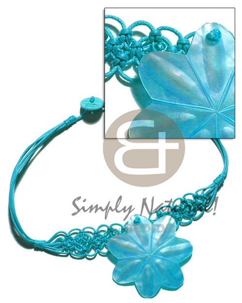 Teens aqua blue wax cord macrame macramae necklace