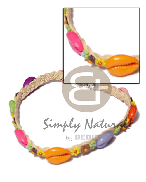 Fashion colored sigay in wax cord macramae necklace
