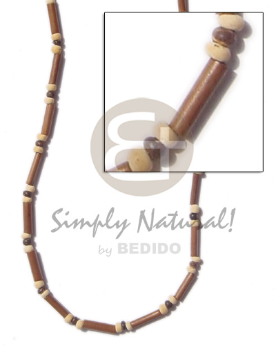 Teens 2-3 mm light brown bamboo mens necklace