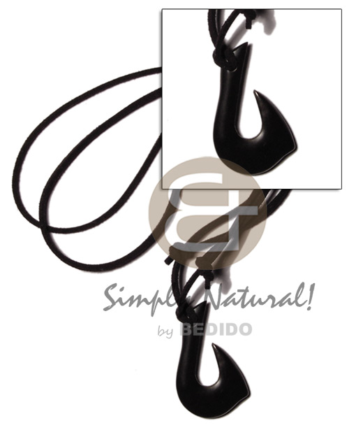 Philippines black carabao horn hook 40mm mens necklace