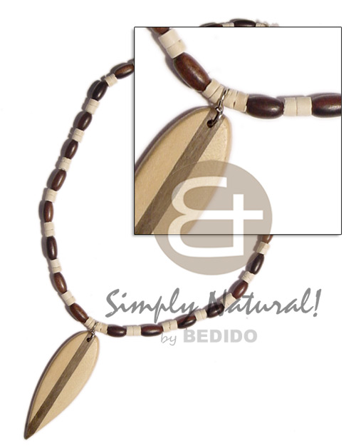 Unisex wood ricebeads 2-3mm coco mens necklace