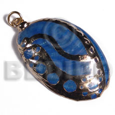 Natural glistening blue abalone molten metal pendants