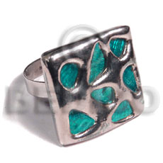 Natural glistening turquoise abalone molten metal rings
