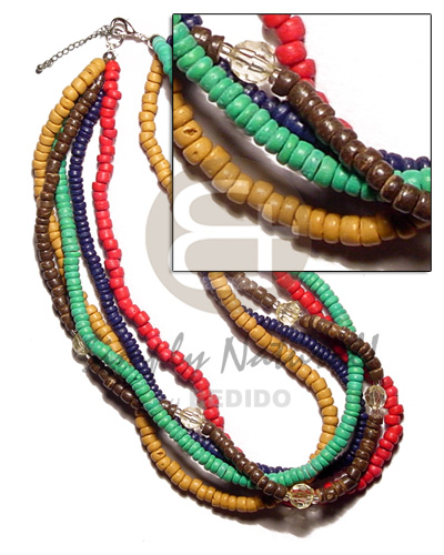 Ladies 5 layers 4-5mm coco pokalet. multi row necklace