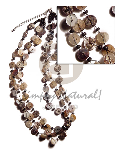 Cebu 3 layers floating 4-5mm hammershell multi row necklace