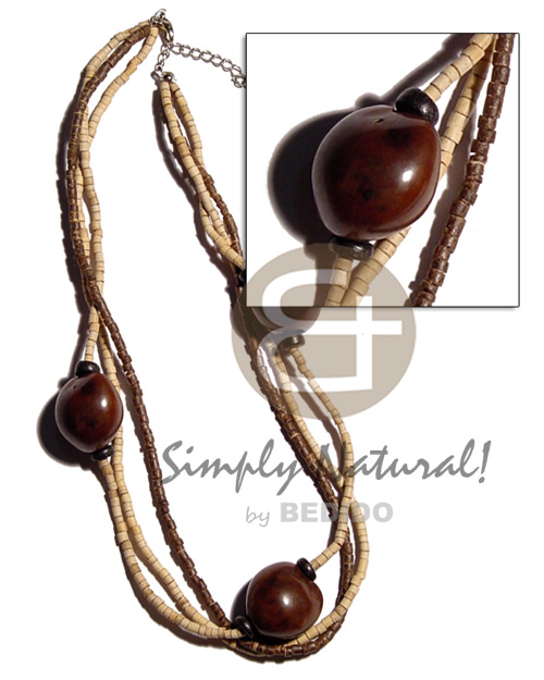 Cebu brown kukui nuts in 3 multi row necklace