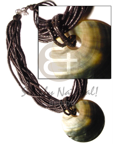 Native 10 rows black coco heishe multi row necklace
